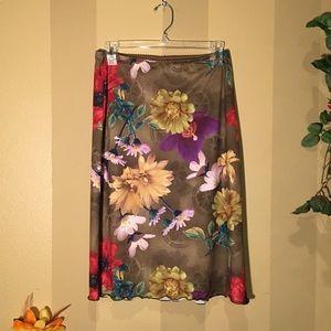 Dresses & Skirts - Slinky, clingy floral midi skirt